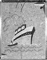 4x5 Black & White Polaroid of old cracked flooring material. The design shows an old retro Ocean Liner Steamship and Tug Boat.
