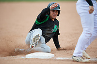 Dayton Dragons third baseman Alejo Lopez (4) slides into third base during a game against the Beloit Snappers on July 22, 2018 at Pohlman Field in Beloit, Wisconsin.  Dayton defeated Beloit 2-1.  (Mike Janes/Four Seam Images)