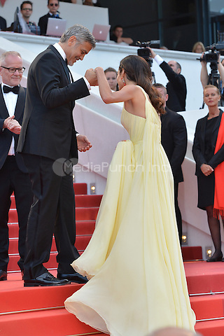 George Clooney and his wife Amal at the &acute;Money Monster` screening during The 69th Annual Cannes Film Festival on May 12, 2016 in Cannes, France.<br /> CAP/LAF<br /> &copy;Lafitte/Capital Pictures /MediaPunch ***NORTH AMERICA AND SOUTH AMERICA ONLY***