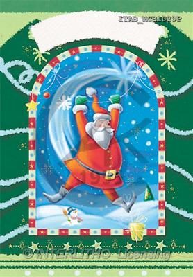 Andrea, CHRISTMAS SANTA, SNOWMAN, paintings, santa, green frame(ITABMCB1029,#X#)