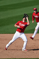 Philadelphia Phillies infielder Cord Phelps (71) during an exhibition game against the University of Tampa on March 1, 2015 at Bright House Field in Clearwater, Florida.  University of Tampa defeated Philadelphia 6-2.  (Mike Janes/Four Seam Images)