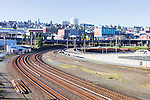 Railroad tracks for major right of way lead in and out of downtown Tacoma, Washington in Pierce County on Commencement Bay.