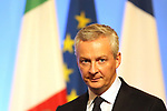 Bruno Le Maire; France's President Emmanuel Macron and Italy's Prime Minister Paolo Gentiloni gives a press conference at the France Italy Summit - Vertice Italo-Francese - Sommet Franco-Italien, in Lyon on September 27, 2017.