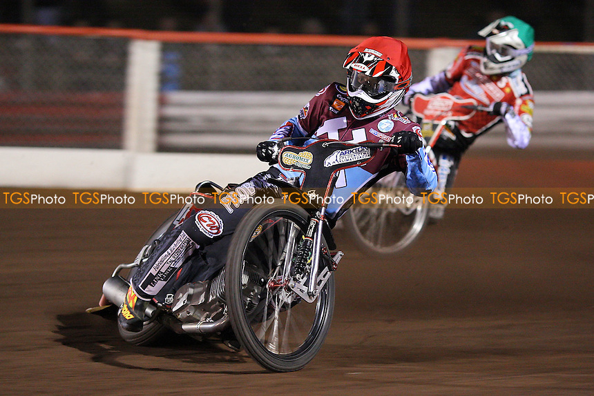Heat 6: Adam Shields (red) and Niels Kristian Iversen (green) - Lakeside Hammers vs Peterborough Panthers - Sky Sports Elite League Speedway at Arena Essex Raceway, Thurrock - 03/04/09 - MANDATORY CREDIT: Gavin Ellis/TGSPHOTO - Self billing applies where appropriate - 0845 094 6026 - contact@tgsphoto.co.uk - NO UNPAID USE.