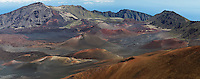 Colorful cinder cones and multiple lava flows created a unique and spectacular landscape known as the crater of Haleakala National Park on Maui in Hawaii USA