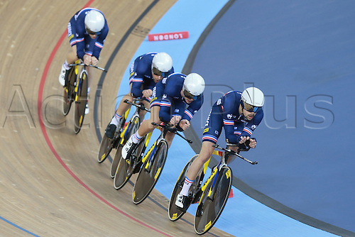 03.03.2016. Lee Valley Velo Centre, Lonodn England. UCI Track Cycling World Championships Mens Team Pursuit.  Team France <br />