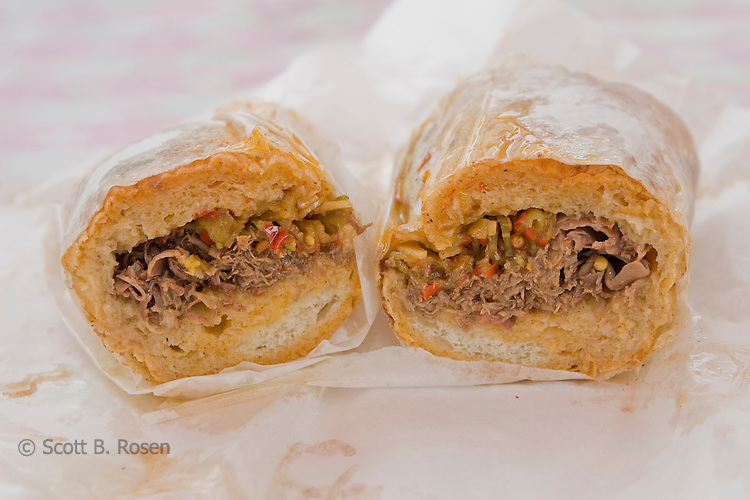 Chicago's world famous Italian beef sandwich with hot peppers