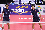 (L-R) Yuki Sato, Hirokazu Kobayashi (JPN),<br /> AUGUST 24, 2018 - Sepak takroae : <br /> Men's Doubles Semi-final  match Thailand - Japan <br /> at Jakabaring Sport Center Ranau Hall <br /> during the 2018 Jakarta Palembang Asian Games <br /> in Palembang, Indonesia. <br /> (Photo by Yohei Osada/AFLO SPORT)