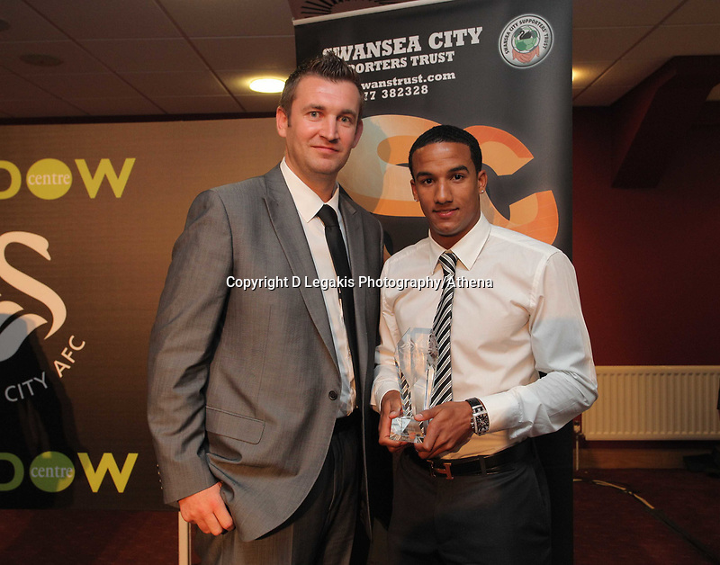 Pictured: Scott Sinclair (R) with award. Wednesday 04 May 2011<br /> Re: Swansea City FC supporters Trust annual dinner at the Liberty Stadium, Swansea, south Wales.