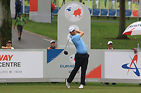 Bernd Wiesbarger (Europe) on the 8th tee during the Saturday Foursomes of the Eurasia Cup at Glenmarie Golf and Country Club on the 13th January 2018.<br /> Picture:  Thos Caffrey / www.golffile.ie