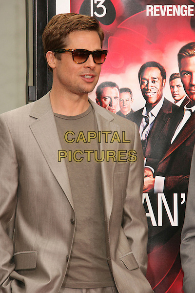 "BRAD PITT .""Ocean's Thirteen"" Handprint and Footprint Ceremony held  at Grauman's Chinese Theatre, Hollywood, California, USA..June 5th, 2007.half length beige suit jacket sunglasses shades .CAP/ADM/RE.©Russ Elliot/AdMedia/Capital Pictures"