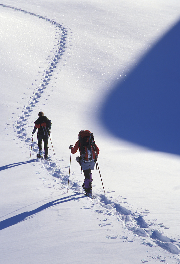 Women snowshoeing, Washington Cascade Mountains