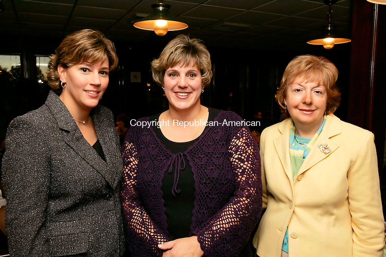 WATERBURY, CT - 20 OCTOBER 2005 -102005JS14- Dana Kahn, Director of Drug Services, Karen Cannata, Assistant Director fo Drug Services and secretary Virginia Cutrali at the Central Naugatuck Valley Help, Inc., 35th anniversary dinner Thursday at The Hills Restaurant at Western Hills Golf Course in Waterbury. --Jim Shannon Republican-American--Karen Cannata; Dana Kahn; Virginia Cutrali, Central Naugatuck Valley Help; Inc.; Western Hills Golf Course; Waterbury are CQ