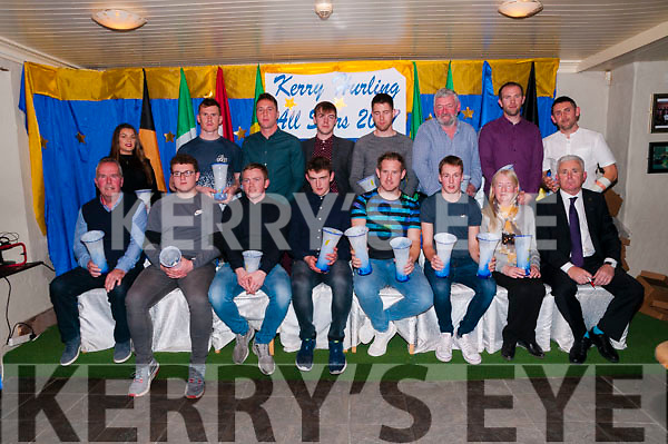 Kerry Hurling Awards: The Kerry All Star hurling awards were presented at the Railway Bar, Lixnaw on Saturday night last. Back : Trish Connolly received the award for PJ O'Gorman, Sean Weir, Paud Costello, Cathal Kearney, Brendan Brosnan, Darren Dineen, Kieran Dineen & John Griffin. Front :Daithi Griffin received the award for Daithi Griffin, James O'Connor, Daniel Collins, Jack O'Sullivan, Padraigh Boyle, Michael Conway & Shane Conway, Kay Conway & Michael O'Halloran, Young player of the year was Shane Conway & Overall player of the year was Padragh Boyle.