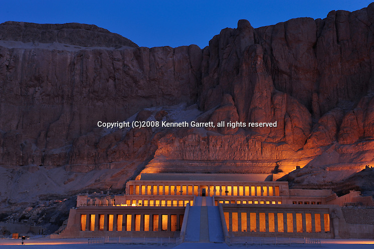 Hatshepsut Egypt, Deir El Bahri Temple, sunrise with lights