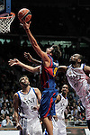 FC Barcelona's Ricky Rubio (l) and Real Madrid's D'or Fischer during ACB Supercup Semifinal match.September 24,2010. (ALTERPHOTOS/Acero)