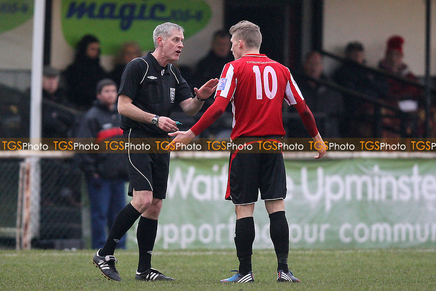 Referee Sannerude speaks to Lewis Smith of Hornchurch - AFC Hornchurch vs Sutton United - Blue Square Conference South Football at The Stadium, Upminster Bridge, Essex - 09/02/13 - MANDATORY CREDIT: Gavin Ellis/TGSPHOTO - Self billing applies where appropriate - 0845 094 6026 - contact@tgsphoto.co.uk - NO UNPAID USE.