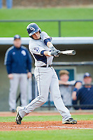 Kyle Streicher (6) of the Georgia Southern Eagles follows through on his swing against the UNCG Spartans at UNCG Baseball Stadium on March 29, 2013 in Greensboro, North Carolina.  The Spartans defeated the Eagles 5-4.  (Brian Westerholt/Four Seam Images)