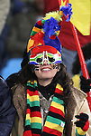 19 JUN 2010:  Cameroon fan in the stands.  The Cameroon National Team played the Denmark National Team at Loftus Versfeld Stadium in Tshwane/Pretoria, South Africa in a 2010 FIFA World Cup Group E match.