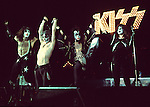 Kiss 1976 Paul Stanley, Peter Criss, Gene Simmons and Ace Frehley  in London.© Chris Walter.