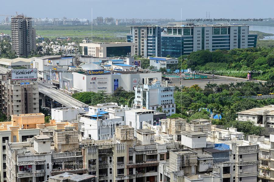 INDIA, Mumbai, skyscraper in suburb Goregoan, Inorbit shopping mall and callcenter building