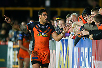 Picture by Alex Whitehead/SWpix.com - 27/04/2018 - Rugby League - Betfred Super League - Castleford Tigers v Wakefield Trinity - Mend-A-Hose Jungle, Castleford, England - Castleford's Jesse Sene-Lefao celebrates the win.