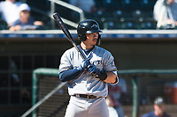 Peoria Javelinas second baseman Keston Hiura (23), of the Milwaukee Brewers organization, at bat during an Arizona Fall League game against the Surprise Saguaros at Surprise Stadium on October 17, 2018 in Surprise, Arizona. (Zachary Lucy/Four Seam Images)