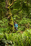 CANADA, Vancouver, British Columbia, Eric and Stephanie Petersen stand in the rainforest on Gambier Island, in the Howe Sound
