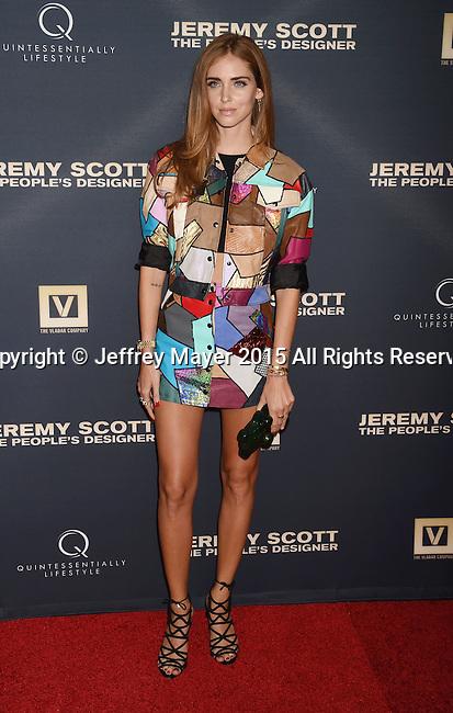 HOLLYWOOD, CA - SEPTEMBER 08: Blogger/designer Chiara Ferragni arrives at the Premiere Of The Vladar Company's 'Jeremy Scott: The People's Designer' at TCL Chinese 6 Theatres on September 8, 2015 in Hollywood, California.
