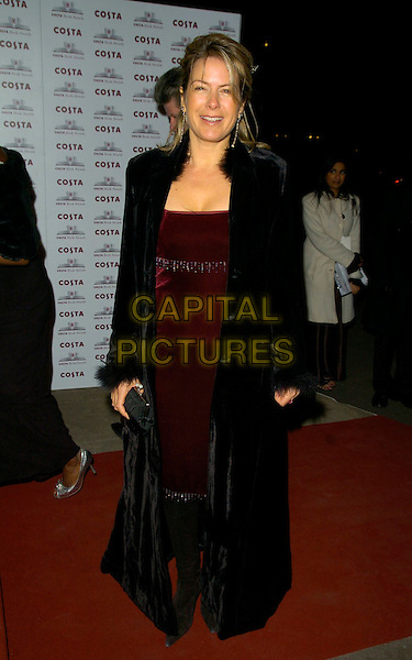 PENNY SMITH.The Costa Book Of The Year Award 2006, Grosvenor House Hotel, Park Lane, London, UK..February 7th, 2007.full length black coat fur trim collar burgundy dress cuffs.CAP/CAN.©Can Nguyen/Capital Pictures