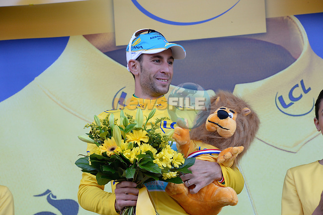 Vincenzo Nibali (ITA) Astana retakes the leader's Yellow Jersey after winning the stage in convincing style at the end of Stage 10 of the 2014 Tour de France running 161.5km from Mulhouse to La Planche des Bellles Filles. 14th July 2014.<br /> Photo ASO/X.Bourgois/www.newsfile.ie