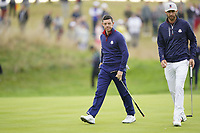 Rory McIlroy (Team Europe) Dustin Johnson (Team USA) on the 5th during the friday fourballs at the Ryder Cup, Le Golf National, Iles-de-France, France. 27/09/2018.<br /> Picture Fran Caffrey / Golffile.ie<br /> <br /> All photo usage must carry mandatory copyright credit (© Golffile | Fran Caffrey)