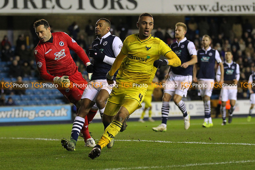 Kemar Roofe of Oxford United scores the second goal for his team and celebrates during Millwall vs Oxford United at The Den