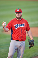 Nick Jobst (46) of the Orem Owlz during a game against the Ogden Raptors at Lindquist Field on August 3, 2018 in Ogden, Utah. The Raptors defeated the Owlz 9-4. (Stephen Smith/Four Seam Images)