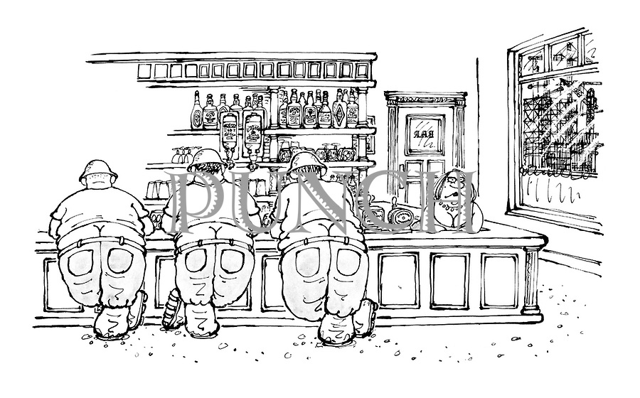 (Three builders lined up at a pub counter showing a fine display of builder's bottoms)