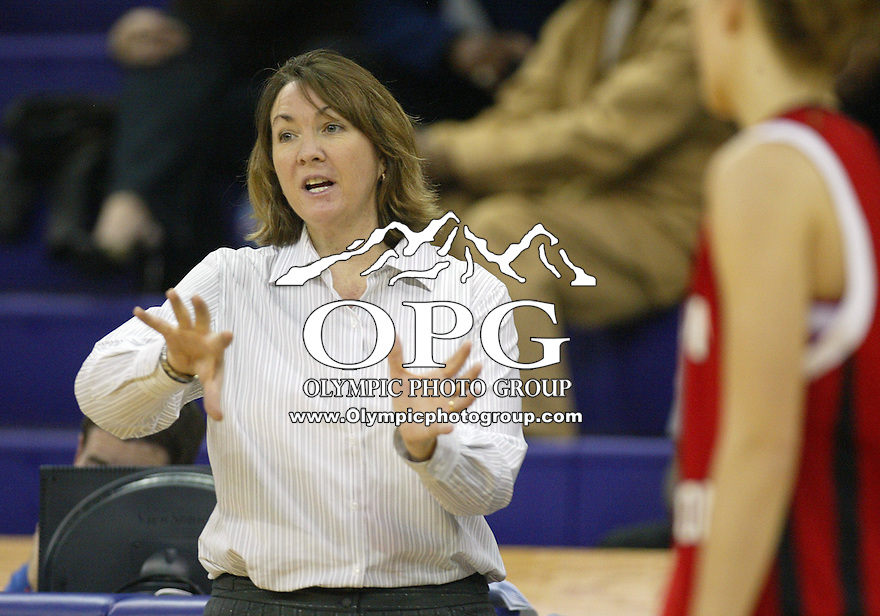 29 November 2009:  Eastern Washington head coach Wendy Schuller directs her players from the bench against Memphis. Eastern Washington won 58-54 over Memphis at the Bank of America Arena in Seattle, WA.