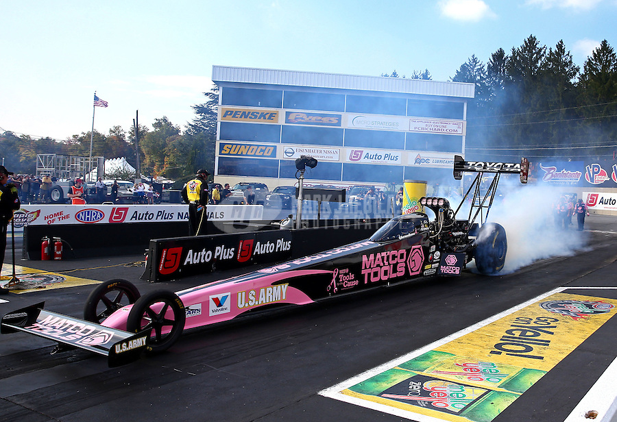 Oct 4, 2013; Mohnton, PA, USA; NHRA top fuel dragster driver Antron Brown during qualifying for the Auto Plus Nationals at Maple Grove Raceway. Mandatory Credit: Mark J. Rebilas-