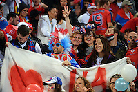 Fans in the grandstand during the FIFA Under-20 Football World Cup Final between Brazil (gold) and Serbia at North Harbour Stadium, Albany, New Zealand on Saturday, 20 June 2015. Photo: Dave Lintott / lintottphoto.co.nz