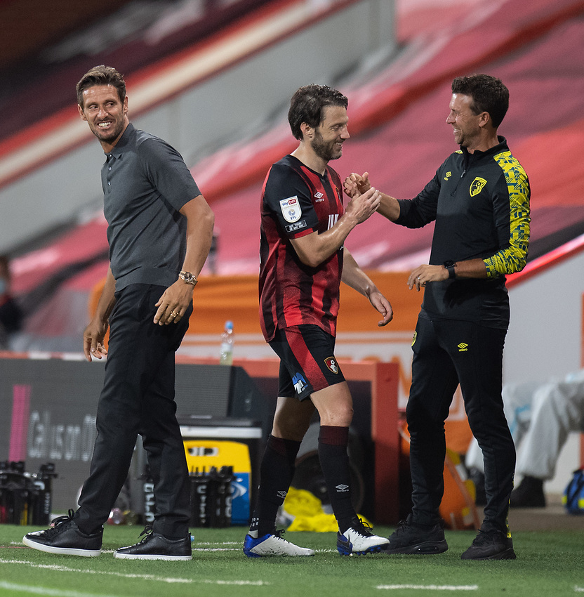Bournemouth manager Jason Tindall (left) and assistance manager Stephen Purches (right) with Harry Arter (centre)<br /> <br /> <br /> <br /> <br /> <br /> Photographer David Horton/CameraSport<br /> <br /> Carabao Cup Second Round Southern Section - Bournemouth v Crystal Palace - Tuesday 15th September 2020 - Vitality Stadium - Bournemouth<br />  <br /> World Copyright © 2020 CameraSport. All rights reserved. 43 Linden Ave. Countesthorpe. Leicester. England. LE8 5PG - Tel: +44 (0) 116 277 4147 - admin@camerasport.com - www.camerasport.com