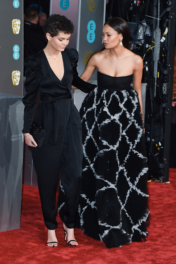 Thandie Newton and daughter<br /> arriving for the BAFTA Film Awards 2019 at the Royal Albert Hall, London<br /> <br /> ©Ash Knotek  D3478  10/02/2019