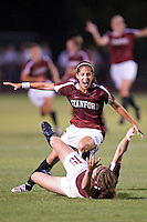 STANFORD, CA - SEPTEMBER 12:  Teresa Noyola celebrates with Kelley O'Hara of the Stanford Cardinal after O'Hara scored the game-tying goal during Stanford's 1-1 overtime tie against the North Carolina Tar Heels on September 12, 2008 at Laird Q. Cagan Stadium in Stanford, California.