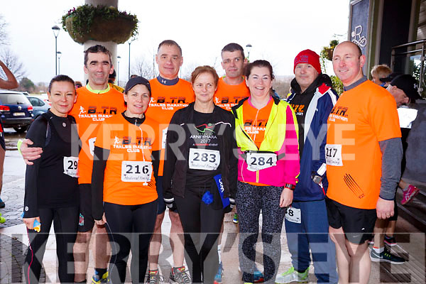 Getting ready for the Optimal Fitness 5 & 10k run at the Rose Hotel on New Years Eve morning,l-r, Marie McKenna (Ballymac), Dave Owens (Tralee), Rose Brosnan (Ballymac), John Counihan (Tralee), Breda Wyles (Castlegregory),  Liam Horan (Tralee), Betty Brosnan (Tralee), Danny O'Shea (Tralee) and Mike Brosnan (Ballymac).