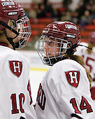 Anna McDonald (Harvard - 10), Jillian Dempsey (Harvard - 14) - The Harvard University Crimson defeated the Northeastern University Huskies 1-0 to win the 2010 Beanpot on Tuesday, February 9, 2010, at the Bright Hockey Center in Cambridge, Massachusetts.