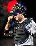 29 September 2009: New York Mets' catcher Brian Schneider in action against the Washington Nationals at Nationals Park in Washington, DC. The Nationals rallied to defeat the Mets 4-3 in the second game of their final 3-game home series. Mandatory Credit: Ed Wolfstein Photo