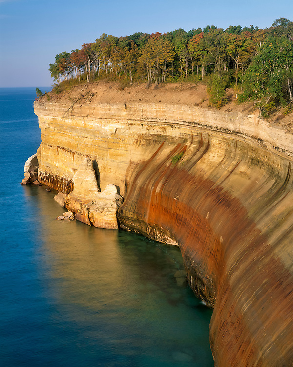 Afternoon light on the cliffs above Lake Superior; Pictured Rocks National Lakeshore, MI