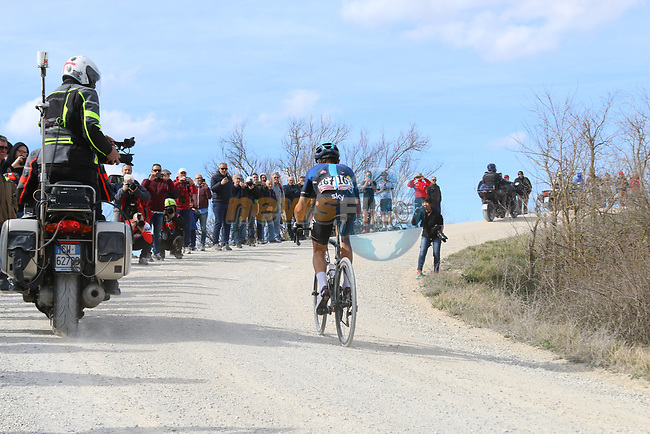 Diego Rosa (ITA) Team Sky out front alone on sector 8 Monte Santa Maria during Strade Bianche 2019 running 184km from Siena to Siena, held over the white gravel roads of Tuscany, Italy. 9th March 2019.<br /> Picture: Seamus Yore | Cyclefile<br /> <br /> <br /> All photos usage must carry mandatory copyright credit (© Cyclefile | Seamus Yore)