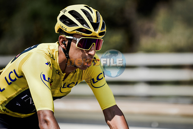 The peloton with new race leader Egan Bernal (COL) Team Ineos during Stage 20 of the 2019 Tour de France running 59.5km from Albertville to Val Thorens, France. 27th July 2019.<br /> Picture: ASO/Pauline Ballet | Cyclefile<br /> All photos usage must carry mandatory copyright credit (© Cyclefile | ASO/Pauline Ballet)