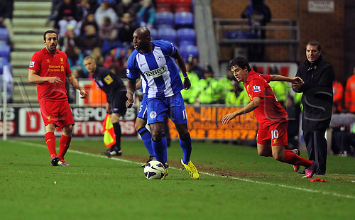 02.03.2013 Wigan, England. Emmerson Boyce of Wigan Athletic in action during the Premier League game between Wigan Athletic and Liverpool at the DW Stadium.