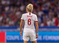 LYON,  - JULY 2: Millie Bright #6 watches the field during a game between England and USWNT at Stade de Lyon on July 2, 2019 in Lyon, France.