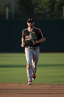Michael Gettys (23) of the Lake Elsinore Storm returns from the outfield during a game against the Inland Empire 66ers at San Manuel Stadium on July 31, 2016 in San Bernardino, California. Inland Empire defeated Lake Elsinore, 8-7. (Larry Goren/Four Seam Images)